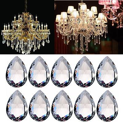 10Pcs Clear Teardrop Glass Crystal Chandelier Lamp Pendant Hanging Prism Decor