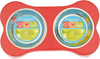 Gibson Home Bow Wow Meow Elevated Feeder Pet Bowl Dinner Set