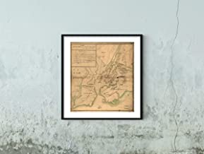 1776 Plan of The Attack The Rebels on Long Island, by an Officer of The Army.|Historic Vintage Antique Wall Map|22