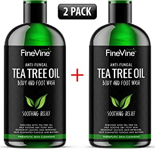 100% Natural Tea Tree Body Wash| Organic Tea Tree Oil Body Wash Made in USA| Cleansing Body Wash Fights off Jock Itch & Nail Fungus| Antifungal Body Wash Treats Athletes Foot, Ec-zema, Ring Worm, Odor