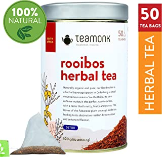 Teamonk Rooibos Herbal Detox Tea Bags - 50 Teabags   Rooibos Tea   Detox Tea   Tea for Detoxification   Tea from South Africa   No Additives
