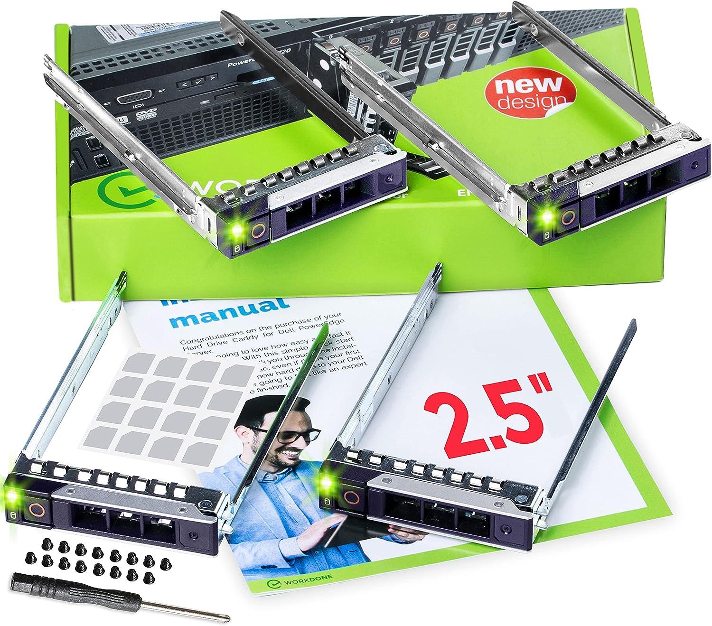 """WORKDONE Paquete 4 uds-Portaunidades Caddy 2.5"""" para DELL PowerEdge - 14.ª G. R440 R640 R740 R740xd R840 R940 R7415 R7425 DXD9H - SSD SAS NVMe - Rail Trineo Conexión en Caliente - Fácil Instalación"""