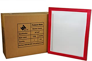 20 x 24 Inch Pre-Stretched Aluminum Silk Screen Printing Frames with 110 White Mesh (6 Pack Screens)