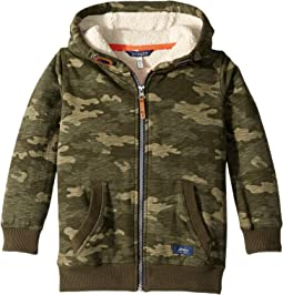Sherpa Lined Zip Through Hooded Sweatshirt (Toddler/Little Kids/Big Kids)