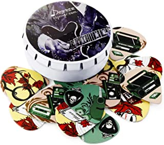 Donner Nostalgia Celluloid Guitar Picks with Key Chain Pick Holder 16 Pack Includes Thin, Medium, Heavy & Extra Heavy Gauges