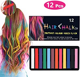 Tiaoyeer Hair Chalk Pens - 12 Colors Temporary Kids Hair Chalk Salon, Non-Toxic Washable Hair Dye Colors for Halloween Christmas Birthday Party, Cosplay, Concert, Safe for Kids & Adults