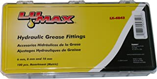 Lumax Gold/Silver LX-4843 6mm 8mm 10mm x 1 (Metric) 100 Piece Grease Fitting Assortment. Passivated Finish for Maximum Protection from Corrosion, 100 Pack