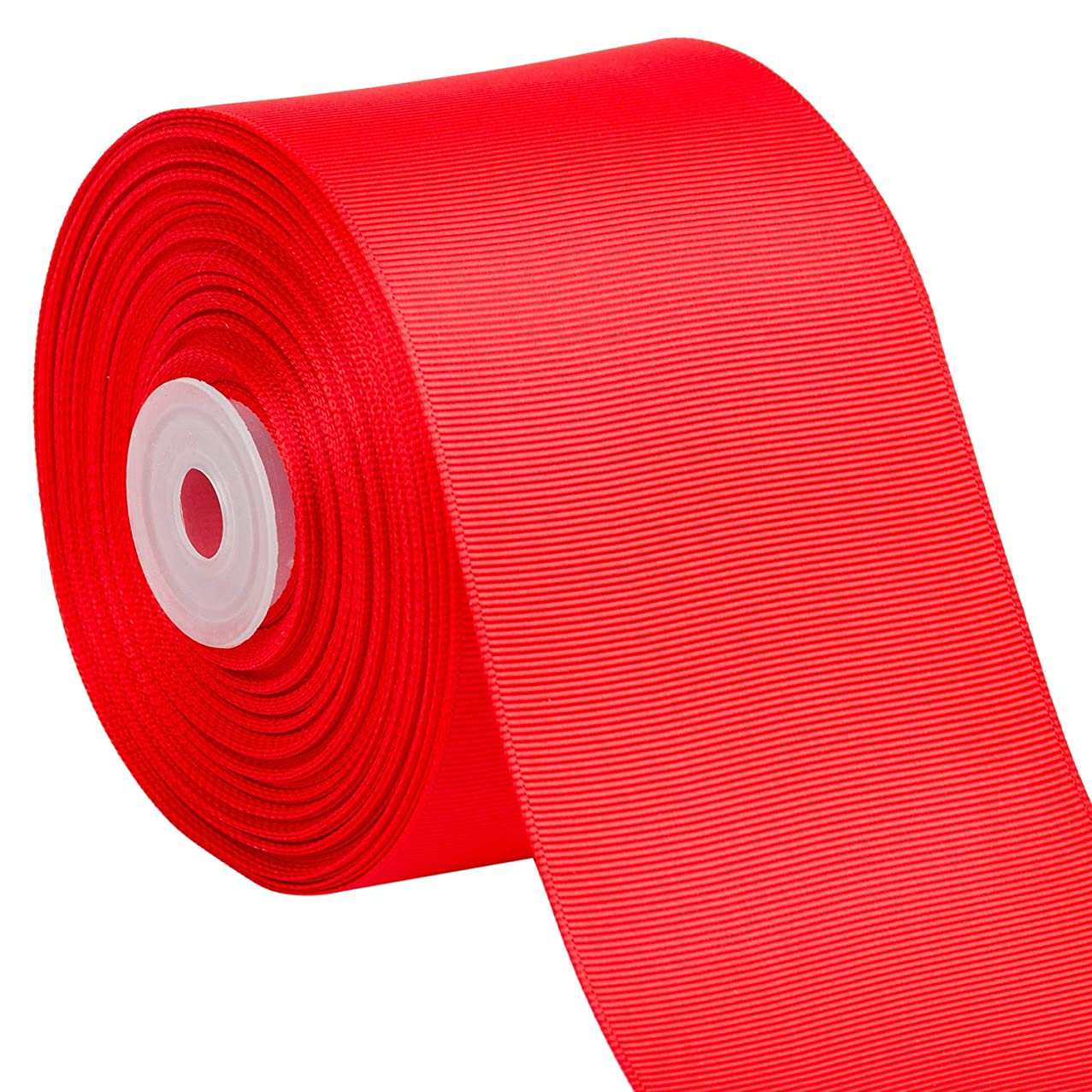 LaRibbons 25 Yards 3 Inch Wide Solid Color Grosgrain Ribbon for Craft, Gift Wrapping, Hair Bow, Wedding Deco - 252 Hot Red
