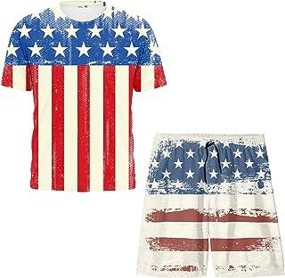 Boys Swim Trunks and Swim Short Sleeve,Two Piece Swimwear Set Casual Swimsuit Quick Dry Bathing Suit 8-20 Years