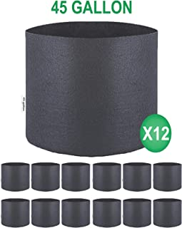 TopoGrow 12-Pack 45 Gallon Grow Bags Black Fabric Round Aeration Pots Container for Nursery Garden and Planting Grow (45 Gallon, Black(12-Pack))