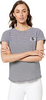 French Connection Women's Raccoon Stripe TEE, Nocturnal/White/Multi