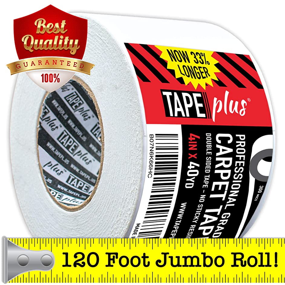 Professional Rug Tape - 4 Inch by 40 Yards (120 Feet! - 2X More!) - Double Sided Non-Slip Carpet Tape - Premium White Finish - Perfect Gripper for Holding Indoor Rugs in Place