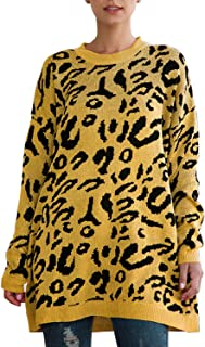 SENSERISE Womens Oversized Leopard Print Sweater Long Sleeve Casual Knitted Jumper Pullover Tops