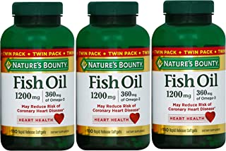 Nature's Bounty Fish Oil 1200 mg, 180-Count per Bottle (540 Total Count) Rapid Release Liquid Softgels