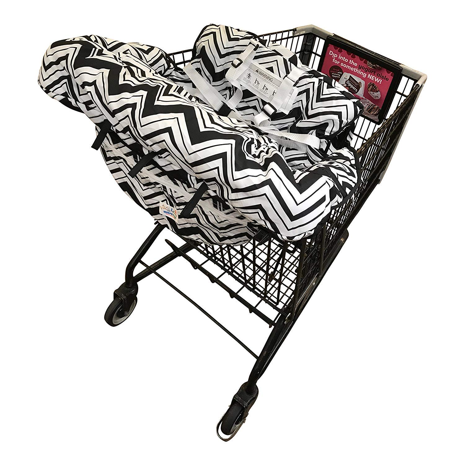 Shopping Cart Cover for Baby- 2-in-1 - Foldable Portable Seat with Bag for Infant to Toddler - Compatible with Grocery Cart Seat and High Chair -Black Chevron Pattern