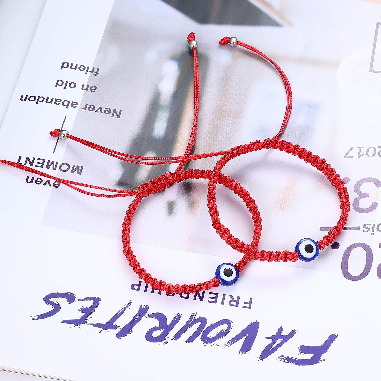 Adramata 6Pcs Evil Eye 7 Knot Bracelets for Protection Good Luck Kabbalah Red String Bracelets Thread Hamsa Amulet Bracelet for Women Men