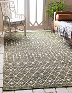 Unique Loom Outdoor Trellis Collection Tribal Geometric Transitional Indoor and Outdoor Flatweave Green Area Rug (7' 0 x 10' 0)