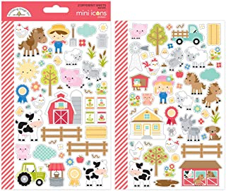 Doodlebug 5914 Down On The Down On The Farm Icons Mini Cardstock Stickers, Multicolor