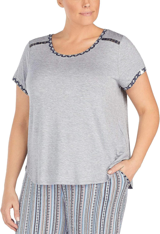 Layla Plus Size Contrast-Trim New sales Lace-Trim 2021 autumn and winter new Pajama Grey Top Heather
