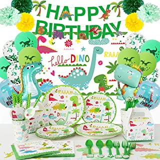 Dinosaur Party Decorations Supplies Serves 16.Birthday Theme Decorations for Boys and Girls with Birthday Paltes,Utensils,...