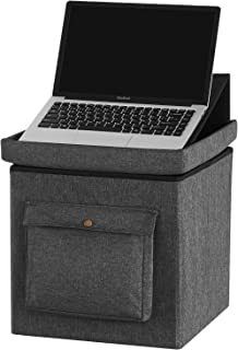 YOUDENOVA 15 inches Storage Ottoman Cube with Laptop iPad Stand, Folding Footrest Stool Toy Boxes, Foam Padded Seat for Dorm Support 350lbs, Linen Fabric Grey