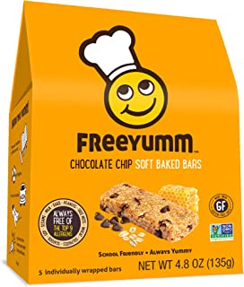 FreeYumm Allergen Free Granola Bars, Gluten Free, Dairy Free, Nut Free Snacks for Kids, Total of 15 Bars (Chocolate Chip)