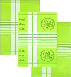 Lashuma 3-pack diskhanddukar design: Kiwi, kökshanddukar 50 x 70 cm, bomullshanddukar grön med ränder