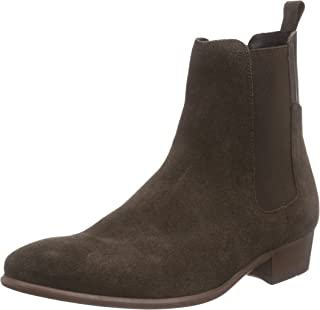 Mens H by Hudson Watts Suede Casual Work Pull On Black Chelsea Boots