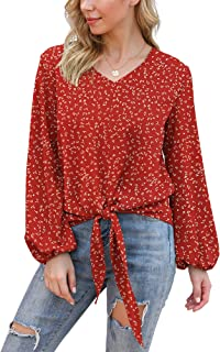 Sponsored Ad - VIISHOW Womens Tie Front Knot Lartern Sleeve Loose Fit V Neck Floral Blouses Chiffon Tops Shirts