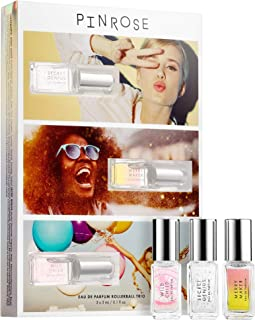 PINROSE Greatest Hits Kit - Travel Size Cruelty-Free Women's Eau de Parfum Fragrance 3-pack - Mix, Match, and Layer Sweet Floral Scents - 3 x 3 mL / 0.1 fl oz