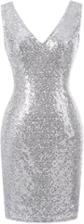 Kate Kasin Women's Shinning Sequined Sleeveless Mini Bodycon Pencil Dress KK1069