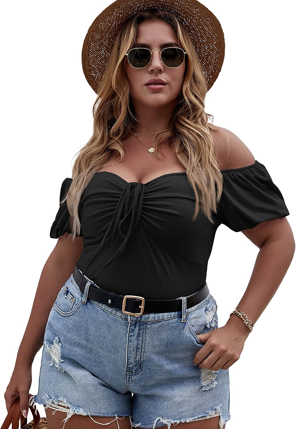 Verdusa Women's Plus Off Shoulder Drawstring Ruched Front Short Sleeve Tee Top