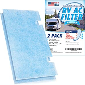 [2-Pack] Mission Automotive MERV 6 Rated RV AC Filter replacement for Dometic Duo Therm Air Conditioner - Filters 3313107.103 / 3105012.003 - Made in USA - Camper AC Filter for Cleaner Air