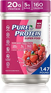 Pure Protein Vegan Plant Based Hemp and Pea Protein Powder, Gluten Free, Mixed Berry Super Fruits, With Vitamin D, Vitamin...