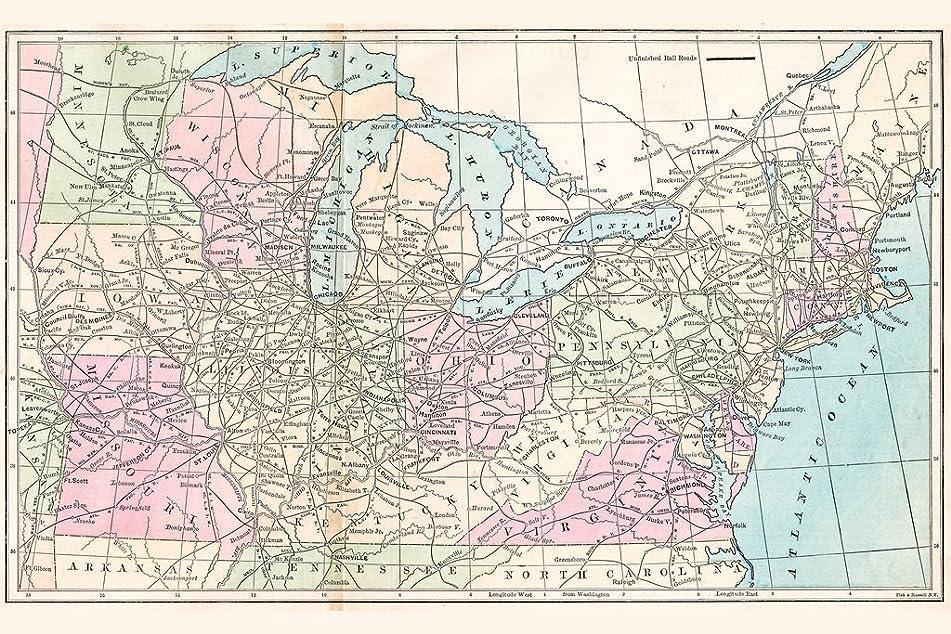 核辞任大胆なアメリカ1875アンティークスタイルで旅行のルートマップフレーム入りポスター18?x 12?by proframes 18x12 inches