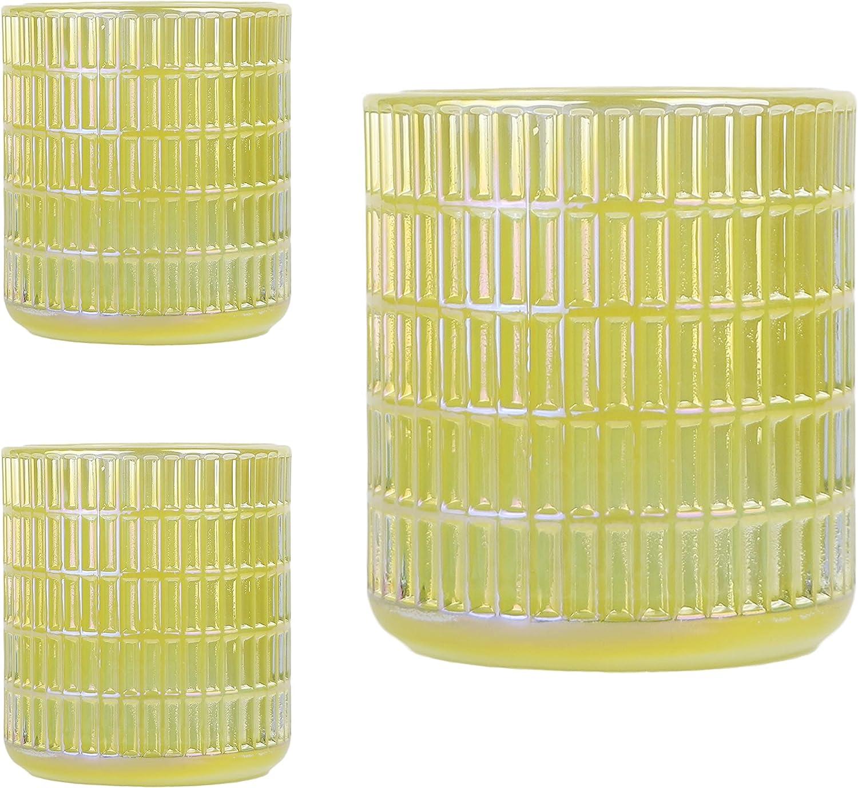 Shampsen Max 74% OFF Glass Candle Holders Votive Yellow Direct stock discount Weddi