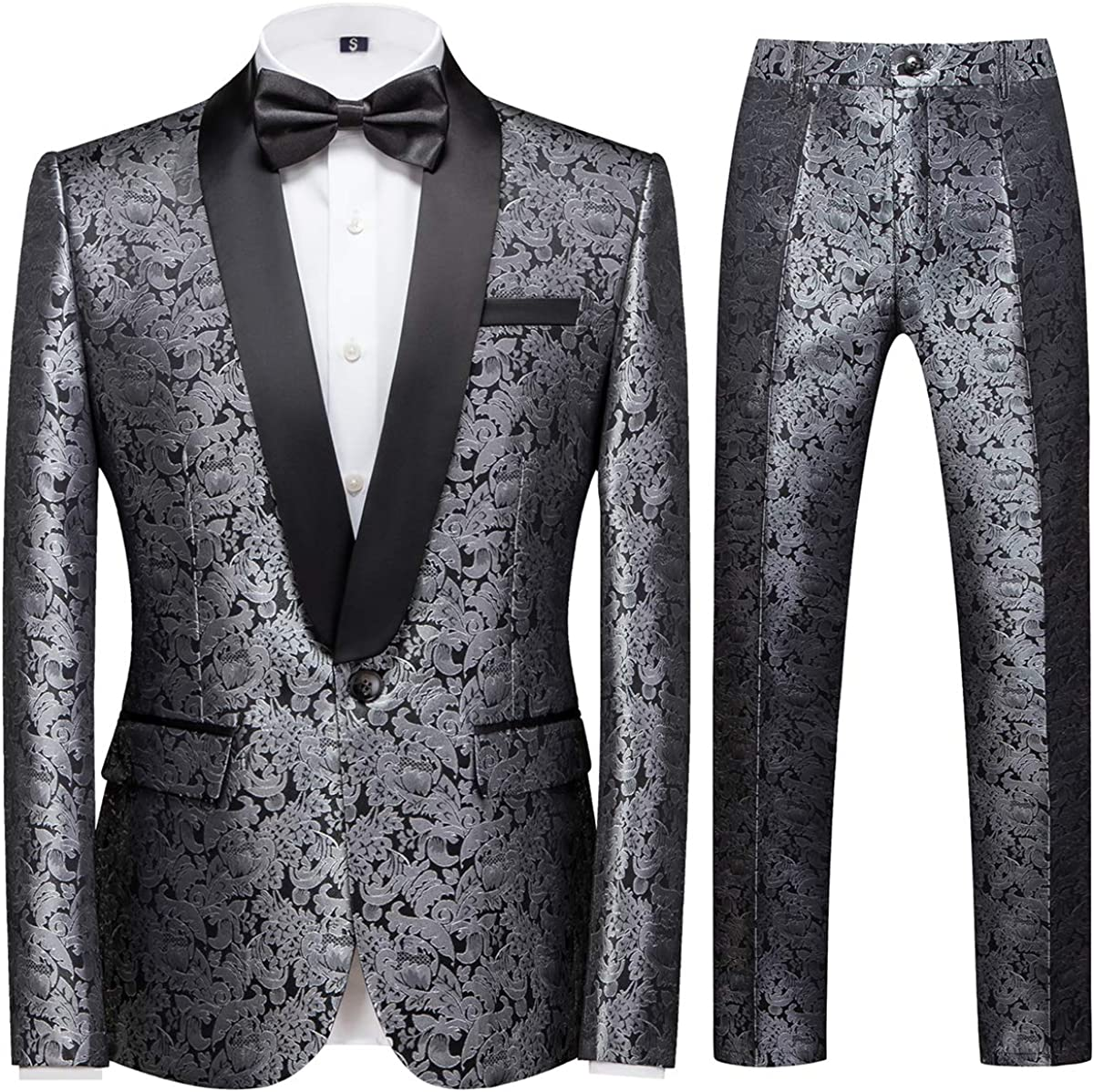 YFFUSHI Mens 2 Piece Suits Embroidery Shawl Collar Prom Party Wedding Blazer Jacket Trouser