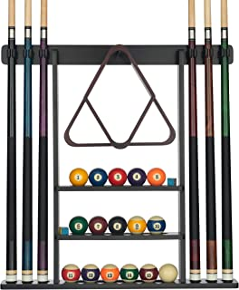 Billiards Xpress Pool Cue Rack - Pool Stick Holder Wall Mount With 16 Ball Holders & 6 Pack Of Chalk - Rubber Circle Pads & Large Clips Prevent Damage - Compact Billiard Table Accessories For Man Cave