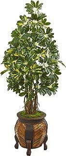 Nearly Natural 57-in. Schefflera Artificial Decorative Planter Silk Trees, Green