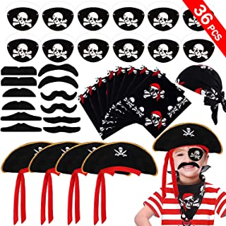 VAMEI 36PCS Pirate Party Supplies for Kids Boys - Pirate Cap, Skull Print Pirate Bandana, Eye Patch, Fake Mustache Cosplay Set Pirate Party Favors for Halloween Masquerade Pirate Party Decorations Accessories