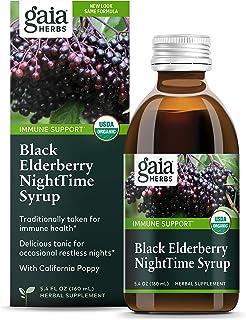 Gaia Herbs, Black Elderberry NightTime Syrup, Immune Support for Restful Sleep, Organic Sambucus Elderberry Supplement, 5....