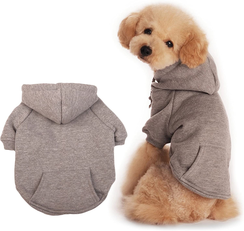 BaoZhang Pet Fleece Hoodies Basic Cotton Sweatshirt Pocket Puppy Cat Winter Jacket Dog Cold Weather Coats,Grey S