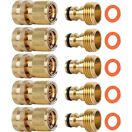 3//4in Garden Hose Quick Connect Water Hose Fit Brass Female Male Connector LOT