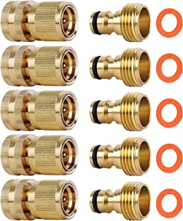 ShowNew Garden Hose Quick Connectors, Solid Brass 3/4 inch GHT Thread Easy Connect Fittings No-Leak Water Hose Male Female...