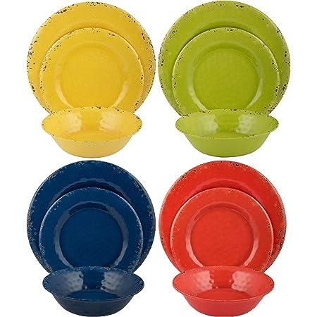 Melange 12 Piece Melamine Dinnerware Set Rustic Collection Dinner Plate Salad Plate Soup Bowl 4 Each Multicolor Dinnerware Sets