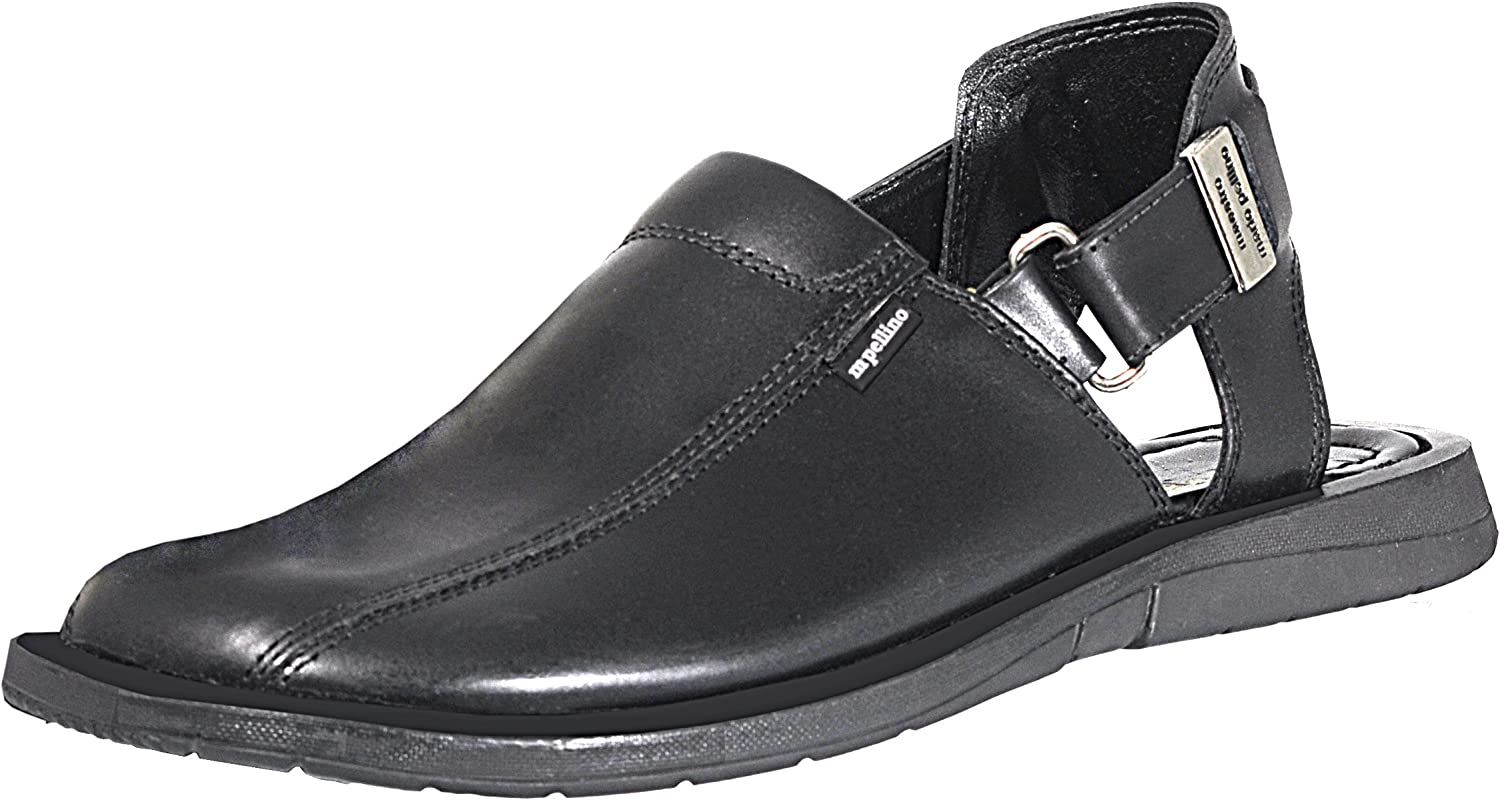 Mario Pellino Handmade Genuine Dress Leather Sandals for Men with Adjustable Strap on The Heel