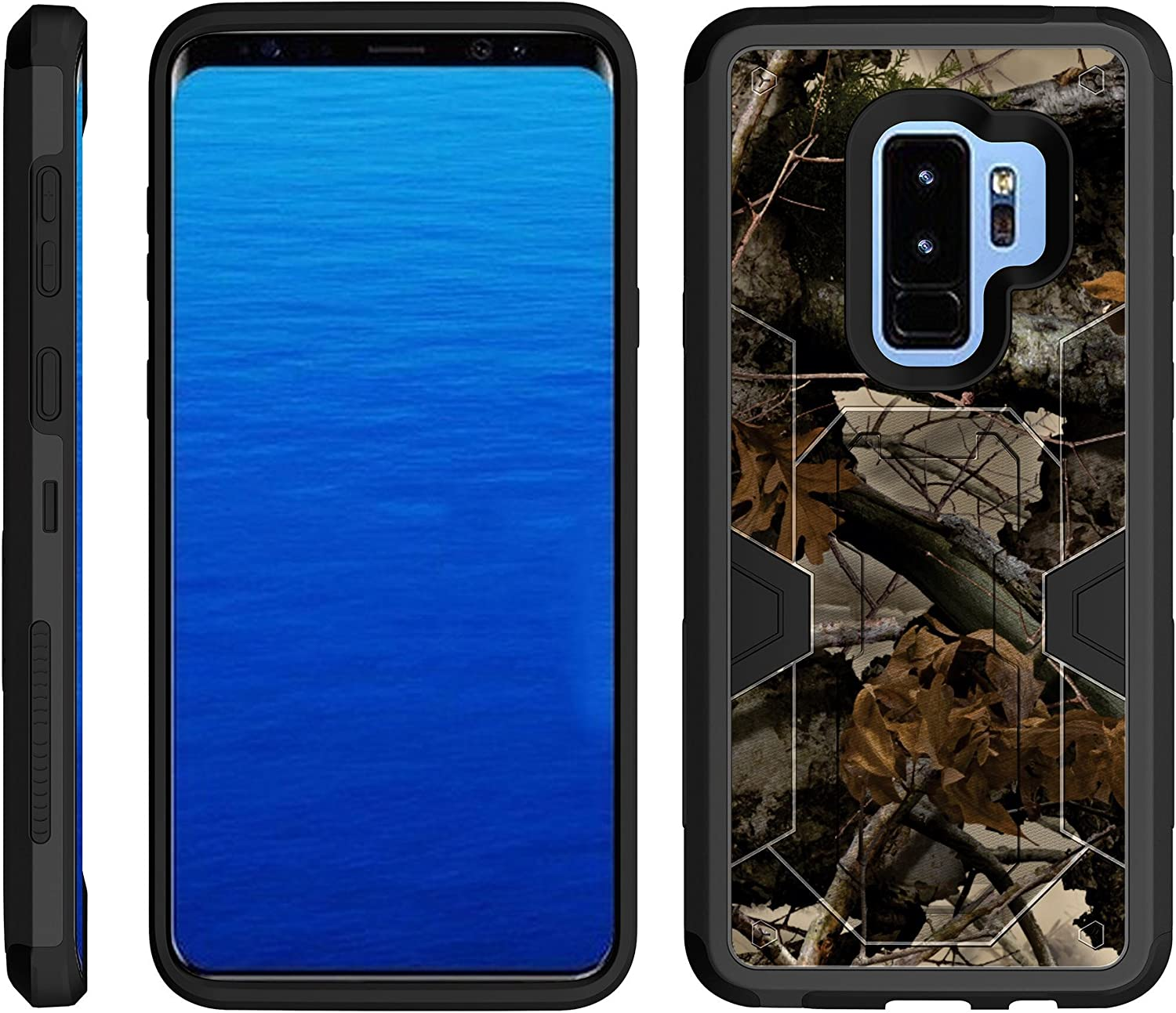 TurtleArmor   Compatible with Samsung Galaxy S9+ Case   S9 Plus Case   G965 [Clip Caliber] Protective Armor Hard Impact Shockproof Case Kickstand Holster Belt Clip - Tree Leaves Camouflage