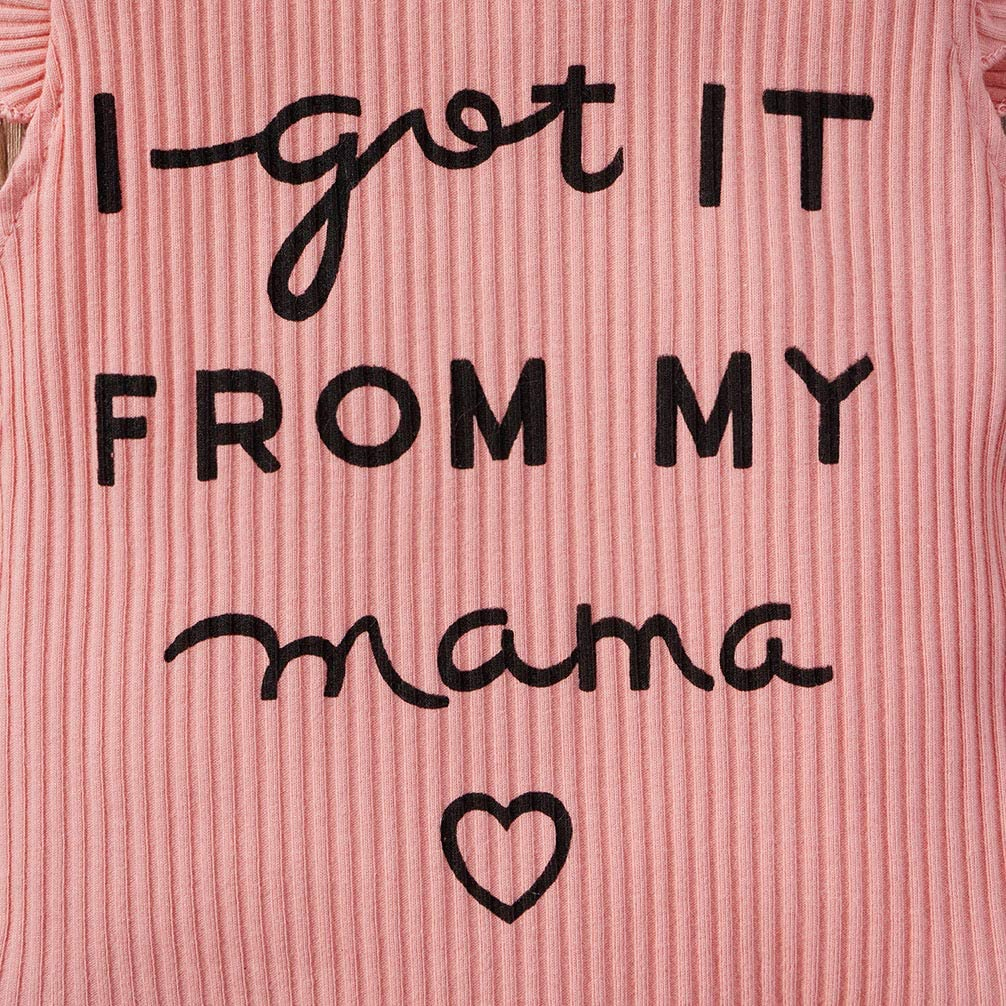 I Got from My Mama Baby Girl Outfit Ribbed Ruffle Romper Floral Shorts Headband
