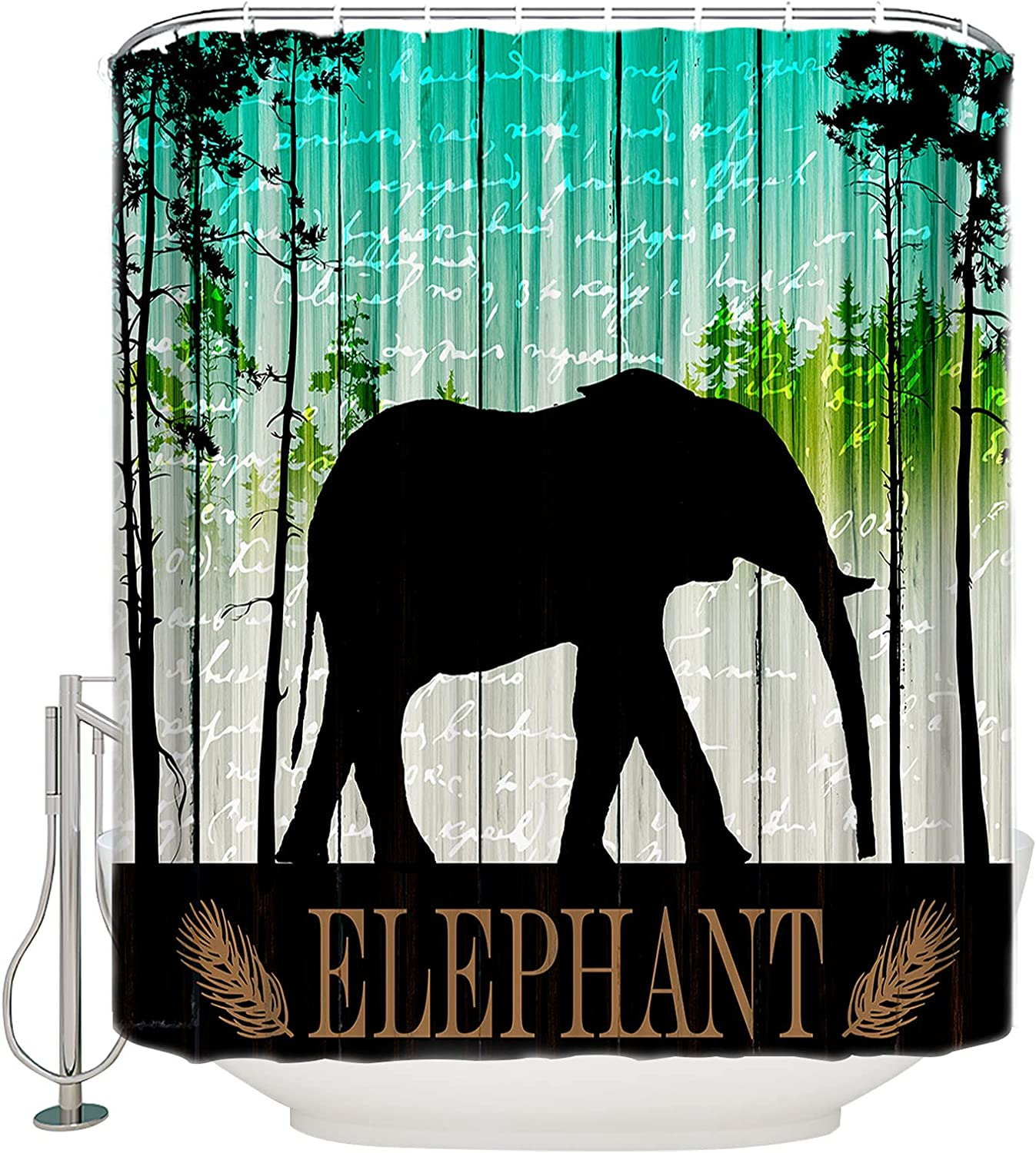 Waterproof Shower Our shop most popular Curtain Popular brand in the world Set with an Silhouette Elephant Hooks