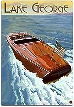 Lake George, New York - Wooden Boat on Lake (12x18 Aluminum Wall Sign, Wall Decor Ready to Hang)